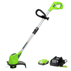"GreenWorks 20V 12"" Cordless String Trimmer with 2AH Battery and Charger Inc."