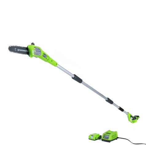 """GreenWorks 24V  8"""" Cordless Pole Saw with 2AH Battery and Charger Inc."""