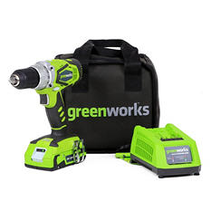 GreenWorks 24V 2 speed compact drill w/ 1 24V battery and 1 charger
