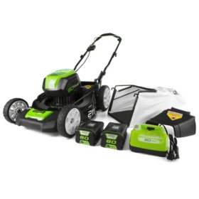 "Greenworks Pro 21"" 80V Cordless Lawn Mower (Two 2.0 AH Batteries Included)"