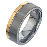 Men's 8mm Tungsten Band with Yellow Accent