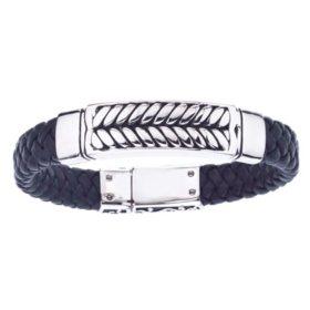 Men's Braided Black Leather Bracelet in Stainless Steel
