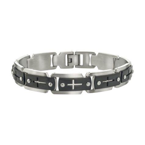 Men's Cross Cutout Bracelet in Stainless Steel