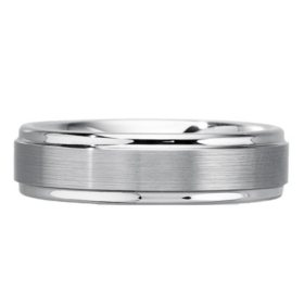 Men's 6mm White Tungsten Wedding Band