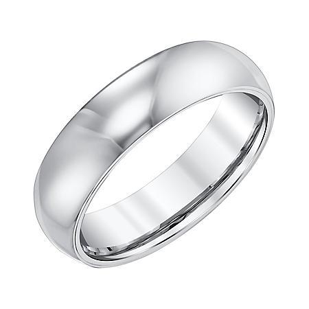 Men's 6mm Half-Round White Tungsten Wedding Band