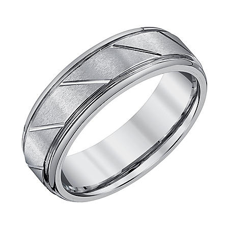 Men's 7mm Grey Tungsten Wedding Band