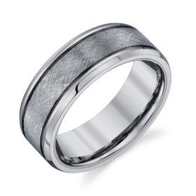 Men's 8mm Tungsten Textured Wedding Band