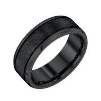 Men's 8mm Black Tungsten Textured Band