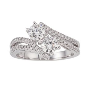 1.20 CT. T.W. Eternally Us 2-Stone Diamond Ring in 14K White Gold