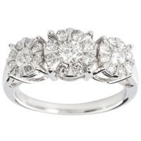 0.98 CT. T.W. Diamond Three Stone Halo Engagement Ring in 14k White Gold