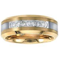 Men's Yellow Tungsten Carbide Diamond Wedding Band 0.20 CT. T.W.