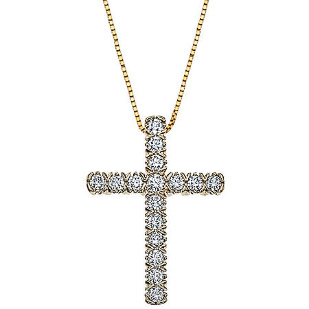 0.71 CT. T.W. Diamond Cross Pendant in 14K Gold