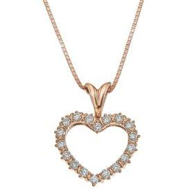 1/4 CT. T.W. Diamond Heart Pendant in 14K Gold