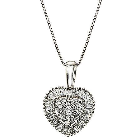 0.30 CT. T.W. Diamond Heart Pendant in 14K White Gold