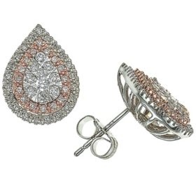 0.46 CT. T.W. Diamond Pear Shaped Earrings in 14K White and Rose Gold