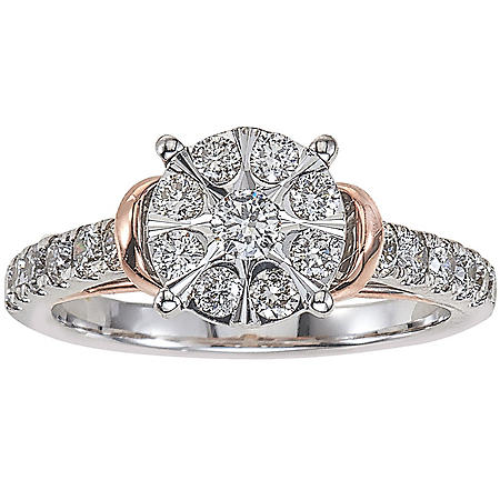 0.96 CT. T.W. Diamond Engagement Ring in 14K White and Rose Gold