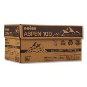 "Boise - Aspen 100% Recycled Paper, 20lb, 92 Bright, 8-1/2 x 11"" - Case"