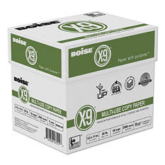 Boise X-9 Copy Paper, 92 Brightness, 20lb, 8-1/2 x11, White -  2500 Sheets/Carton