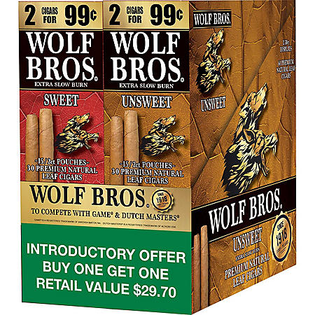 Wolf Bros. Sweet/Unsweet Natural Leaf Cigarillos (2 boxes, 15 ct. 2-pks.)