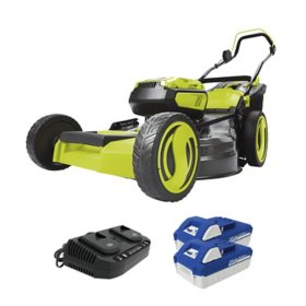 Sun Joe 24V-X2-21LM 48V Cordless Lawn Mower with Batteries, Dual Port Charger