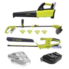 Sun Joe 24V-GT3MAX-LTE 3-Tool Garden Combo Kit - 24V Hedger, Trimmer and Leaf Blower