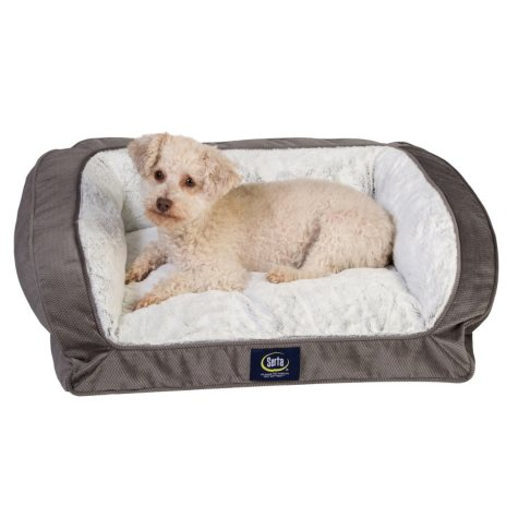 "Serta Perfect Sleeper Memory Foam Blend Couch Pet Bed, Gray (25"" x 21"")"
