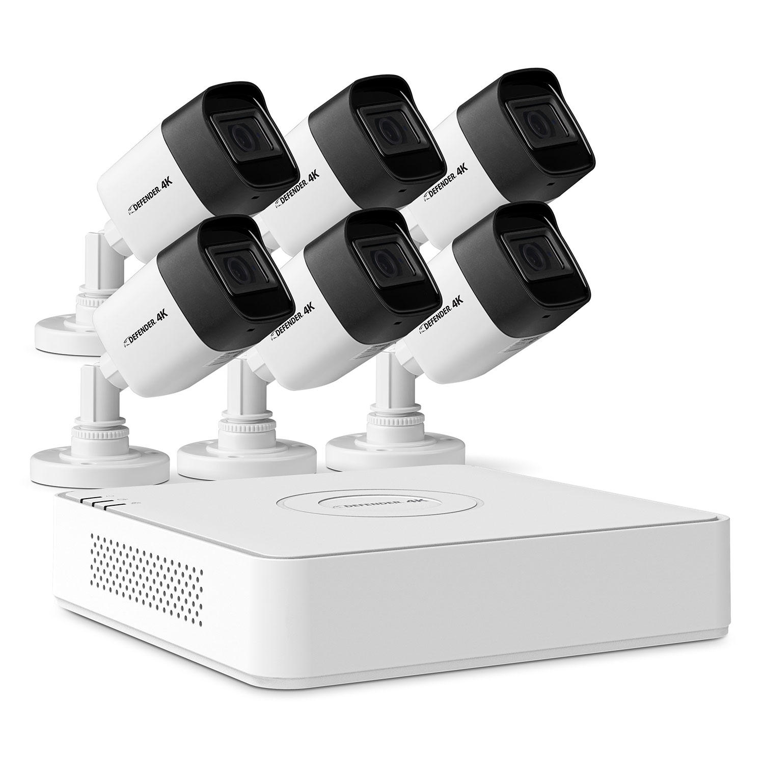 Defender 4K2T8B6V2 Ultra HD 4K (8MP) 2TB Wired Indoor/Outdoor Security Camera System with 6 Night Vision Cameras