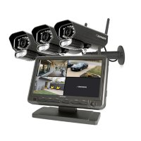 """Defender Phoenixm23c Digital Wireless Security System with 7"""" LCD Monitor and 3 Outdoor/Indoor Night Vision Cameras"""