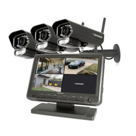 "Defender Phoenixm23c Digital Wireless Security System with 7"" LCD Monitor and 3 Outdoor/Indoor Night Vision Cameras"