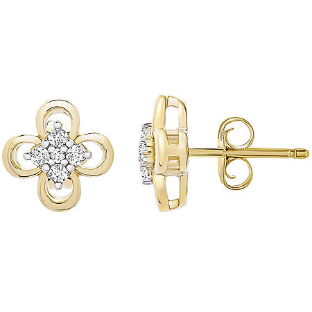 0.10 CT. T.W. 14K Yellow Gold Flower Clover Stud Earrings (I-I1)