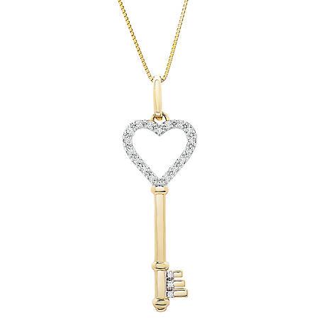 0.10 CT. T.W. 14K Yellow Gold Heart Shape Key Pendant (I-I1)