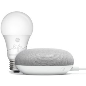 Google Home Mini Chalk and GE C-Life Smart Bulb