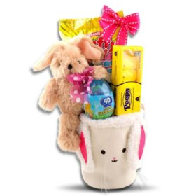 Cute Little Bunny Face Pink Easter Basket