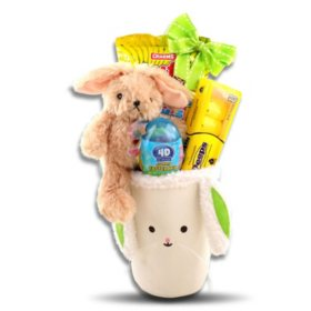 Cute Little Bunny Face Green Easter Basket