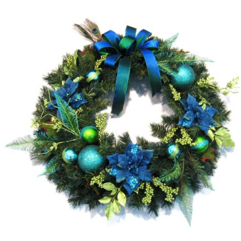 """Large 36"""" Deluxe Blue/Green Peacock Holiday Wreath"""