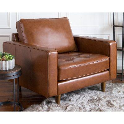 Benjamin Mid Century Top Grain Leather Armchair
