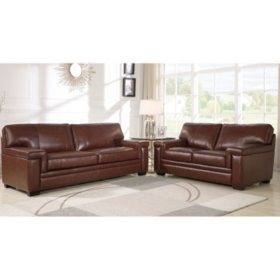 Divani Top-Grain Brown Leather Set (Assorted Options)