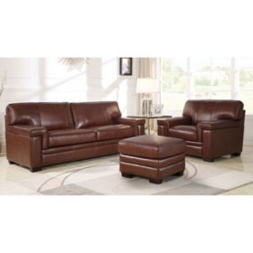 Divani Top-Grain Brown Leather Sofa, Armchair and Ottoman ...