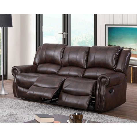 Abbyson Living Turner Triple Reclining Leather Gel Fabric Sofa