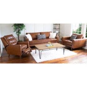 Benjamin Mid-Century Top-Grain Leather 3-Piece Set
