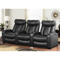 Deals on Abbyson Living Larson Leather Power Reclining Home Theater Seating 3-Pc Set