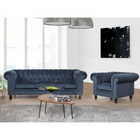 Davenport Velvet Sofa and Armchair (Assorted Colors)
