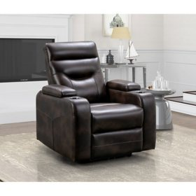 Clarkston Theater Recliner with Triple Power Footrest, Headrest and Lumbar, Assorted Colors