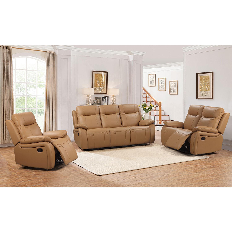 3-Piece Abbyson Living Riverside Top-Grain Leather Reclining Set