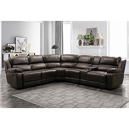 Genesis 6-Piece Reclining Sectional, Brown