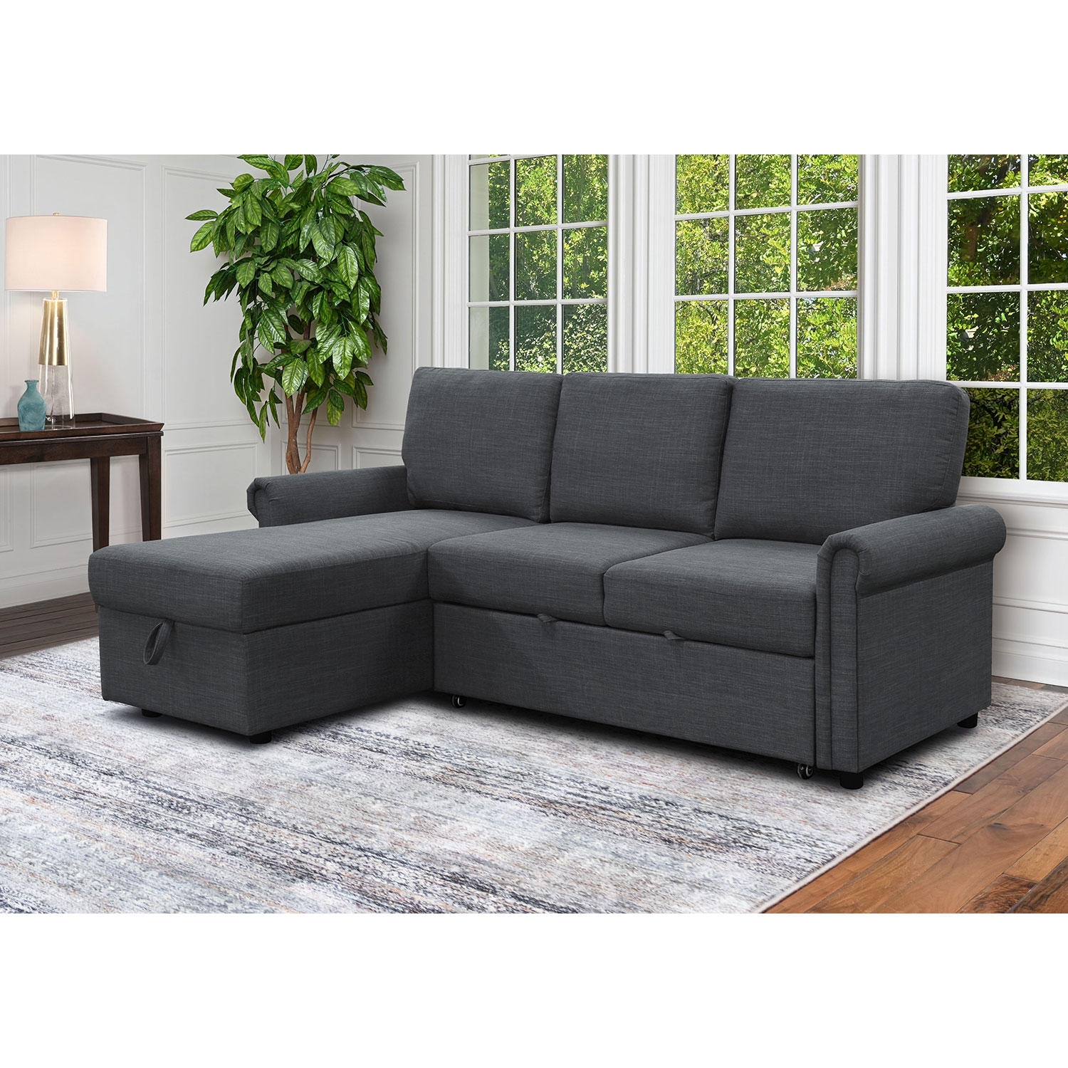 Abbyson Living Hamilton Reversible Storage Sectional with Pullout Bed