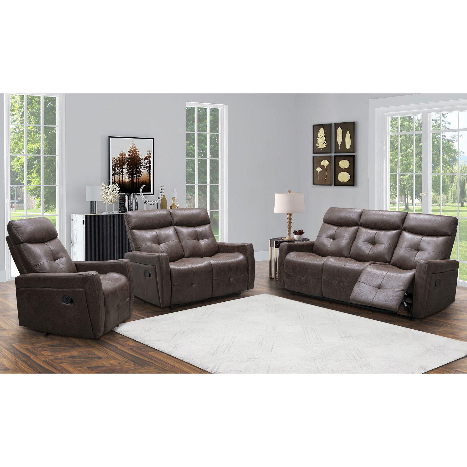 3-Piece Abbyson Living Cambridge Reclining Sofa Loveseat & Chair Set