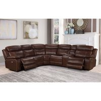 Hawthorne 6-Piece Top-Grain Leather Power Reclining Sectional