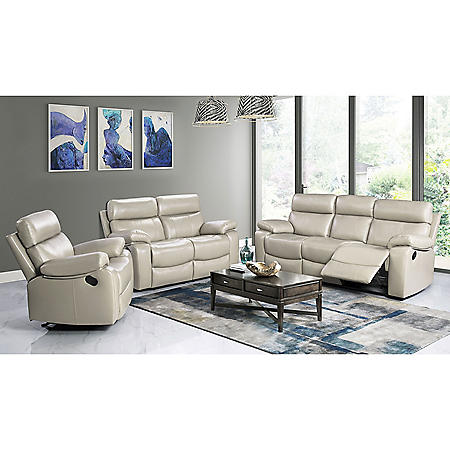 Strafford Top-Grain Leather Reclining 3-Piece Set, Various Colors