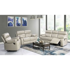 Strafford Top-Grain Leather Reclining 3-Piece Set